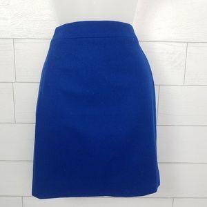 J. Crew Pencil Skirt 0P Blue Double Serge Wool